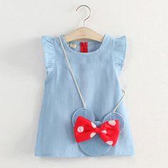 #Popreal #denim #dress #denimdress #girldress #fashion   Fly Sleeve Denim Dress With Minnie Bag,Only$15.19,for little fashion girl!