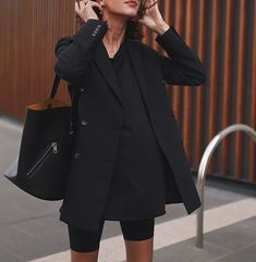 Blazer by REIKO, shorts are Stussy and black tee by bassike - Style VI - Biker Shorts Mode Outfits, Short Outfits, Spring Outfits, Casual Outfits, Fashion Outfits, Womens Fashion, Fashion Ideas, Casual Drinks Outfit, Hijab Fashion