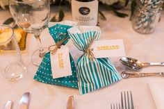 Sweet Bag FAvours Luggage Tags Teal Gold Barn Wedding http://www.mr-and-mrs-wedding-photography.co.uk/