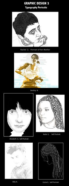 Typography Portraits - could be a good project for my students in graphic design