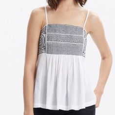 Madewell Embroidered Gauzy Cami Gorgeous white gauzy cami with top embroidering. Adjustable straps. Madewell Tops Camisoles