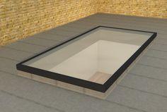Slim Grey Low Lying Flat Aluminium Roof Lantern / Glass Rooflight, Sky light