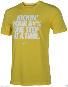 MEN'S SIZE XL NIKE T-SHIRT KICKIN' YOUR A#% ONE STEP AT A TIME  SWOOSH YELLOW #Nike #GraphicTee Cool Things To Buy, Stuff To Buy, Cool Outfits, Graphic Tees, Nike, Yellow, Hot, Mens Tops, T Shirt