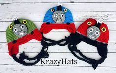 Thomas,Percy and James Train Hat.Crochet Train Hat. Train hat.Made to order.