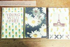 Resultado de imagem para diy notebooks for school Tumblr School Supplies, Cute School Supplies, College Notebook, Diy Notebook, School Suplies, Cute Notebooks, School Notebooks, Diy Tumblr, Diy Back To School