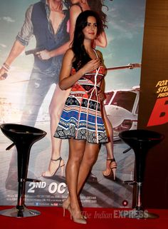 Katrina Kaif showed off her tall slender frame in a colourful printed DvF dress with nude pumps at an event to unveil 'Bang Bang' film's title track.