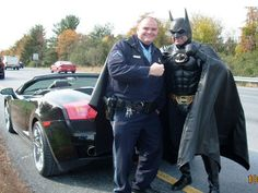 The caped crusader is pulled over by police in Maryland for driving with the wrong plates on his Lamborghini Batmobile. Watch the BBC video - the cops commentary is epic. http://www.bbc.co.uk/news/world-us-canada-17564941    He was on his way to bring good cheer to children at a cancer ward.  He wasn't charged.    Another great video here of someone driving by the Batmobile: http://www.youtube.com/watch?v=O7XNauK9k7I    This has to be the ultimate cosplay!