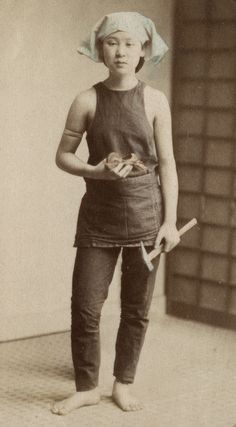 Woman with the tools of her trade. 1870's, Japan. National Museum of Denmark
