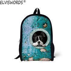 c17d6aec536 ELVISWORDS 2017 New Style School Bags Teenager Boy Schoolbag Funny Dog  Printed Casual Bookbag Comfortable Cute