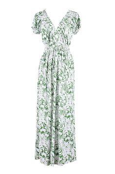 Short Sleeves Paisley Print Summer Holiday Resort Beach Maxi Dress