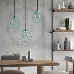 Gabbia paralume nudo Diamond metallo colore Turchese attacco E27 www.creative-cables.com #homedecor #design #lighting #diy #lampshade #cool #interior #interiordesign #beleuchtung #lighting #homesweethome #illuminazione