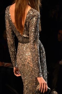 Elie Saab, Karlie Kloss, model, runway, haute couture, couture, fashion, high fashion, Paris Fashion Week, fashion week, ball gown, sequins, lace, evening gown, cocktail dress, couturier, atelier, fashion designer, designer, Elie Saab Couture, grey, sparkles, glamorous, silver, sheer, detail, embroidery, clutch, handbag, Fall 2011,