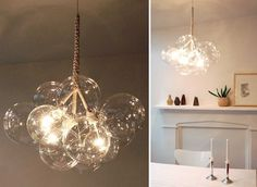 These lightweight chandeliers are created by tying together hand-blown glass balls with cables and cotton twine. Originally designed by Jean Pelle for ReadyMade Magazine, it's a beautiful design you can make yourself or purchase online.