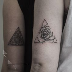 Rose triangle for María thank you! #rachainsworth #rosetattoo #triangletattoo…
