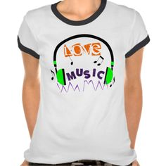 """A fun tee shirt top for anyone who loves music, with a text graphic """"Love Music"""" and a fun bright green music headset. #text-graphic #love-music #music-theme #text #headset #green #musical #purple #music #music-lover #text-theme #fun #text-tee #text-shirts #music-notes #funky #funky-music"""