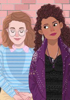 Black Mirror s03ep04 San Junipero Yorkie and Kelly illustration Netflix