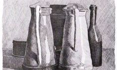 Giorgio Morandi, Still Life with Five Objects. Etching on cream wove paper, 15 in. x 18 ½ in. Bowdoin College Museum of Art, Brunswick, Maine. Still Life Drawing, Still Life Art, Italian Painters, Italian Artist, Galerie Des Offices, Gravure Illustration, Simple Subject, London Look, Cross Hatching