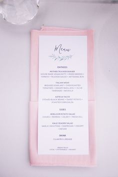 wedding menu card, blush napkin fold at wedding