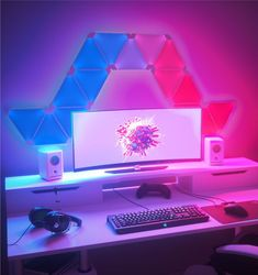 me- Nanoleaf Light Panels Smarter Kit: Nanoleaf.me Nanoleaf Light Panels Smarter Kit: Nanoleaf. Setup Desk, Gaming Desk Setup, Computer Setup, Pc Setup, Gaming Desk Lighting, Nanoleaf Lights, Computer Gaming Room, Gaming Rooms, Gaming Desktops