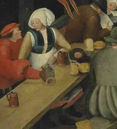 Marten van Cleve I (Antwerp c. 1527-1587)   Saint George's Day: A village kermesse with figures dancing and merrymaking, others drinking before an inn at the sign of The Horn.  Visible: blue bodice, black partlet, red skirt.