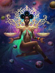 Arte Libra, Libra Art, Zodiac Art, Black Love Art, Black Girl Art, Art Girl, Black Art Painting, Black Artwork, Black Goddess