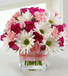 Pink & White Cube Arrangement - Daisies, Roses, and Carnations Spring Flower Arrangements, Beautiful Flower Arrangements, Fresh Flowers, Silk Flowers, Spring Flowers, Floral Arrangements, Beautiful Flowers, Spring Bouquet, White Flowers
