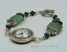 Karen's Artistic Touches Store - Green Aventurine Gemstone Swarovski Crystal Beaded Watch Bracelet, $24.99 (http://www.karensartistictouches.com/green-aventurine-gemstone-swarovski-crystal-beaded-watch-bracelet/)