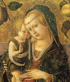 "CARLO CRIVELLI (1435 – 1495) |  Detail - Madonna and Child.             ""Well I will bless you, but I am nearly asleep""."