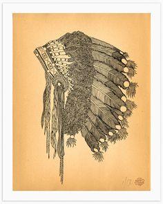 Native American Print 12 x 15 Art Print Headdress by BrineAndByway, $50.00