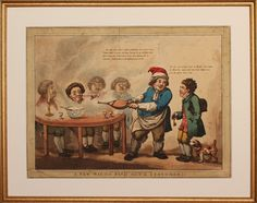 The owner of a gentlemen's club has devised a way of finding his customers amidst the swirling clouds of pipe-smoke - by using a set of billows. A young man is trying to find his master, 'a little gentleman in a brown wig'. The master's face emerges from the smoke, clearly enjoying his pipe and a bowl of punch. Not in the British Museum, and not described in BM Satires. Etching & aquatint Designed by George Moutard Woodward Published in London by William Holland, March 1796