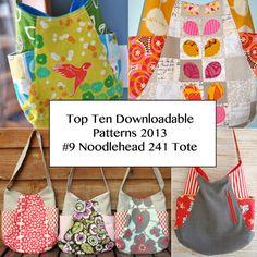 Top Ten Downloadable Pattern from 2013 - #9 Noodlehead 241 Tote http://www.pinkchalkstudio.com/blog/2014/02/12/2013-top-ten-downloadable-patterns-9-noodlehead-241-tote/