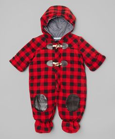 Look at this #zulilyfind! Pistachio Red & Black Plaid Bunting Suit - Infant by Pistachio #zulilyfinds