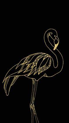 Black & Gold Flamingo Wallpaper