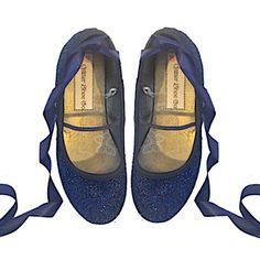 47a359088 Sparkly Glitter Ballet Flats Shoes Birthday Flower Baby Girl Toddler Newborn  Navy Blue