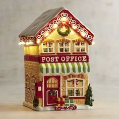 Pier 1 Imports  LED Christmas Village Post Office Cookie Jar