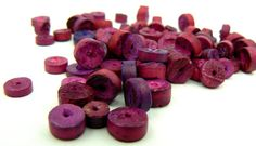Fuschia Disc Wood Beads, 20 Eco Friendly Wood Beads, Beads For Jewelry Making, Loose Vintage Hot Pink Purple Wood Beads, Destash (W12)