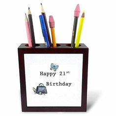 Florene - Special Events - Image of Happy 21 Birthday With Handbag Shoes And Lipstick - 5 inch tile pen holder (ph_224344_1) - Brought to you by Avarsha.com