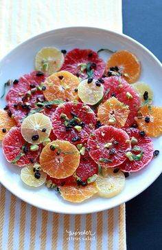 Winter Citrus Salad #recipe made with grapefruits, blood oranges, cara cara oranges, meyer lemons and clementines via @Jen Ramos (MadeByGirl)