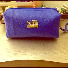 Blue coach makeup bag Brand new comes with a little strap selling on mercar too so you get free shipping :) Bags Cosmetic Bags & Cases