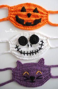 Crochet Mask, Crochet Faces, Knit Crochet, Maske Halloween, Halloween Masks, Halloween Designs, Halloween 2020, Scary Halloween, Crochet Crafts