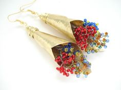 Unique Handmade Bouquets Earrings-Hammered Gold Bronze Earrings-Colorful Beaded Bouquets-Boho Contemporary Earrings-Long Impressive Earrings by AnnaRecycle on Etsy https://www.etsy.com/listing/235761394/unique-handmade-bouquets-earrings