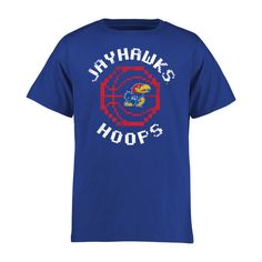 Kansas Jayhawks Youth 8-Bit Basketball T-Shirt - Royal - $17.99