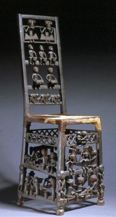 Africa | Chair from the Chokwe people of Peso, Angola | Wood, animal hide and brass tacks | 19th to early 20th century