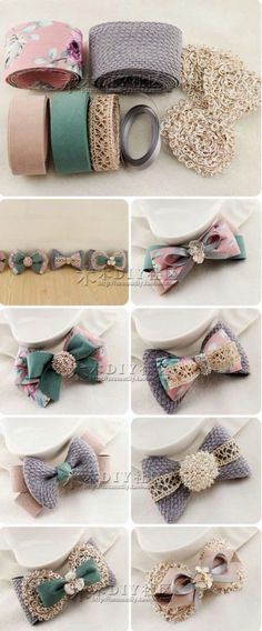 "diy_crafts-发饰 ""Old fashioned lace bows"", ""Discover thousands of images about Hair bow Mais"" Diy Ribbon, Ribbon Hair, Ribbon Crafts, Ribbon Bows, Ribbons, Ribbon Decorations, Barrettes, Hairbows, Little Presents"