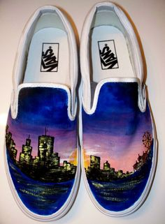 Artistic and fashionable shoes. It'd be a shame to see them get lots of dirt and stuff on them, that'd ruin the art.