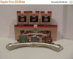 Clearance-ON SALE Train -CHRISTMAS Train Ornament - Hallmark - Track and Train Cars by CellarDeals on Etsy
