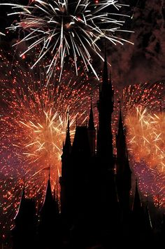 Cinderella's castle silhouetted by the fireworks