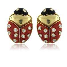 Fine Vintage 18K Gold Coral Onyx Diamond Ladybug Earrings