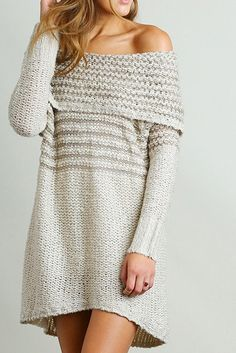 We double dare you to show a little shoulder this season with this off shoulder sweater. It is perfect to wear as a dress with booties for a date or with leggings for a day when you seek warmth and st