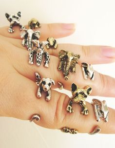 Animal Rings, Bunny Ring, Rabbit Ring, Puppy Ring, Dog Ring, Elephant Ring, Giraffe Ring, Cocker Spaniel Ring, French Bulldog Ring von TriangleJewelry auf Etsy https://www.etsy.com/de/listing/219566573/animal-rings-bunny-ring-rabbit-ring